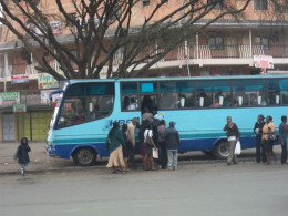 getting into a KBS service bus at Buruburu, Nairobi