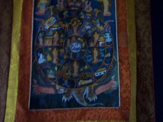 Tradition painting from Tibet called Thangka (map or wheel of life) These artworks were painted by the monks in the Tibetan Monestaries.  This piece was purchased in Nepal about 40 years ago by an acquaintance, I purchased it from her.