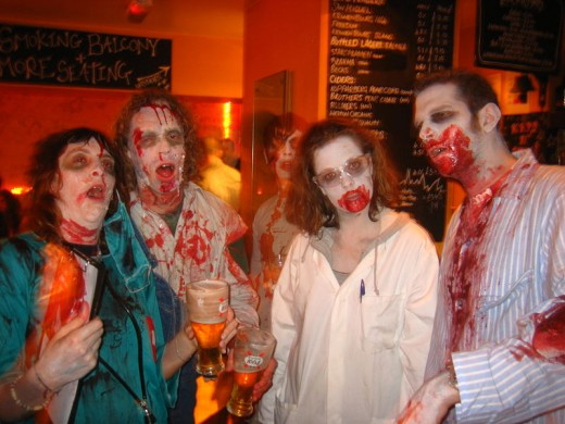 "When not out there devouring people, the zombies like to ""hang out"" in a pub."