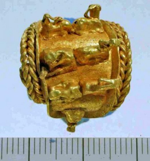 This is the gold earring found at Tel Megiddo