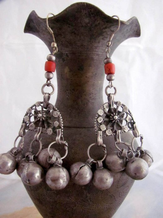 Ancient Yemeni Bridal earrings made out of silver