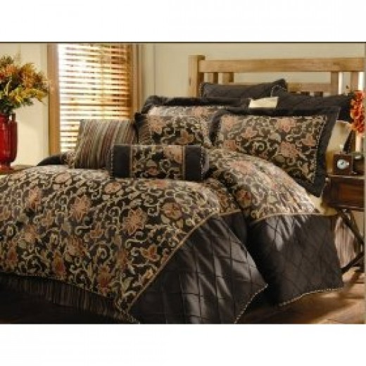 9pc Chocolate Brown and Gold Bedding Set