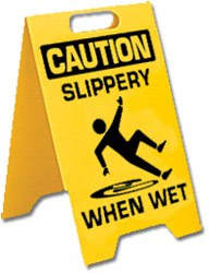 Warning signs are not always posted so, watch your step, especially around pool areas.