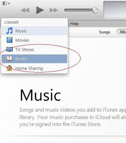 "Step 10: The file will disappear from the music part of the library. On the top left corner, click the library selector, it will be on ""Music"" by default, and select ""Books"" instead."