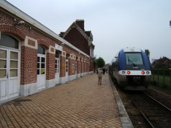Comines railroad station with TER train