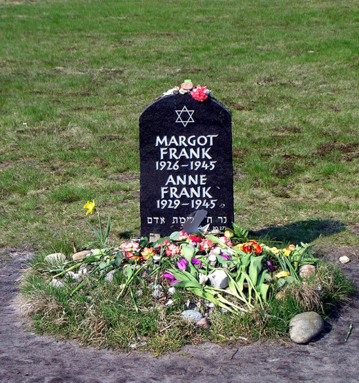 Memorial in Bergen-Belsen to Anne Frank and her sister Margot