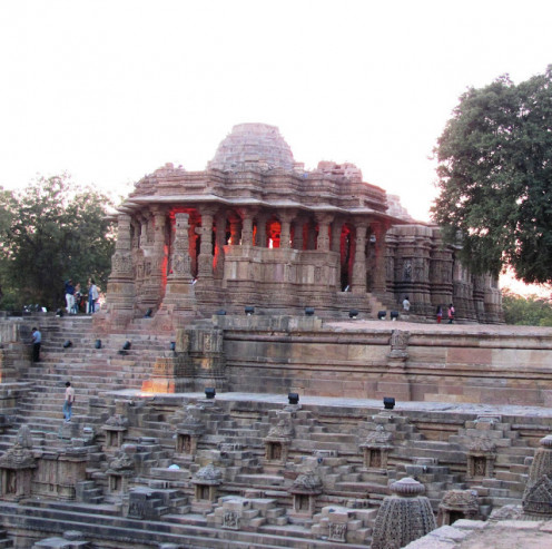 A view of the main temple complex with the Sabha mandap in the foreground.