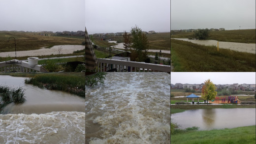 Collage of six pictures from this mornings flood.