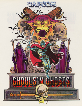 An arcade flyer for Capcom's Ghouls n Ghosts
