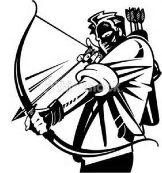 man battling with bow and arrow