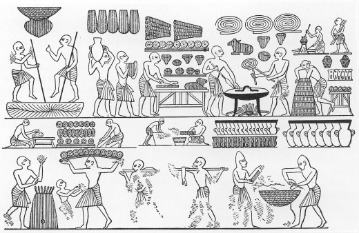 "The court bakery of Ramesses III. ""Various forms of bread, including loaves shaped like animals, are shown. From the tomb of Ramesses III in the Valley of the Kings, twentieth dynasty."" Scanned from The Oxford encyclopedia of ancient Egypt ISBN 0-1"