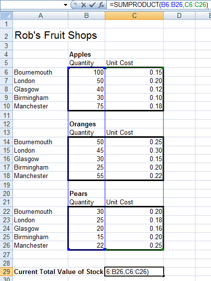 Example of how to use SUMPRODUCT in a formula in Excel 2007 and Excel 2010.