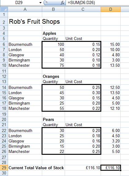 Illustrating how SUMPRODUCT is calculated in Excel 2007 and Excel 2010.