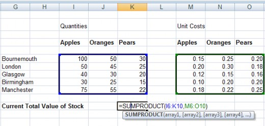 Another example of using SUMPRODUCT in a formula in Excel 2007 and Excel 2010.
