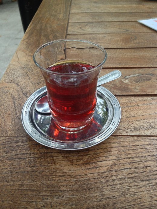 Turkish tea, as served in its special glass.