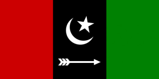 The flag for the Pakistan People Party, the political party that Benazir Bhutto led.