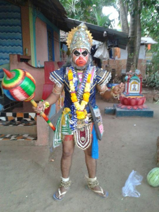Dressed as hanuman.