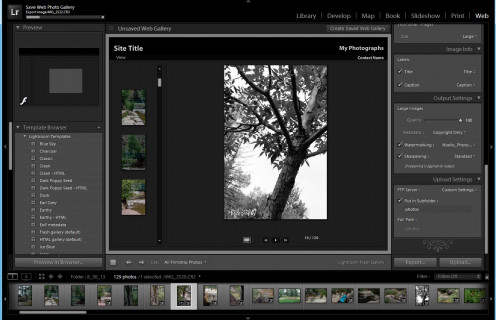 The web window allows you to easily create a webpage with photos.