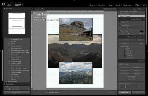 Adjust and arrange photos to sell prints and preview printing settings with included templates.