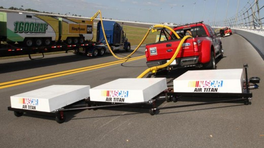 A scaled-down version of the Air Titan track drying system that NASCAR unveiled earlier this year