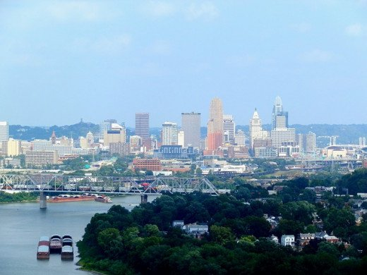 Cincinnati, across the Ohio River.