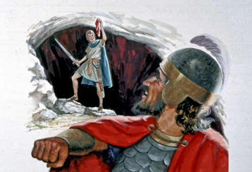 David cut off a piece of Saul's robe. He could have killed the king, but showed mercy instead (1 Samuel 23:29--24:22)