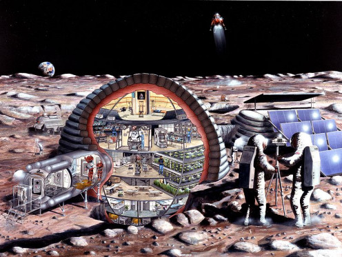 Inflatable module for a lunar base.