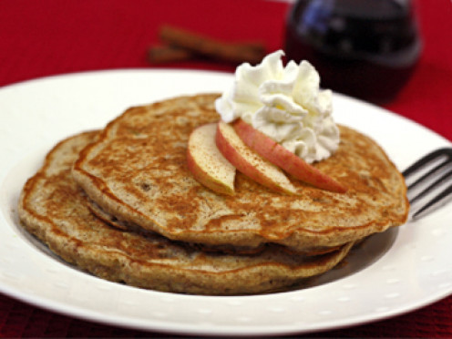 Apple Cinnamon Pancakes. A Great way to switch up plain pancakes