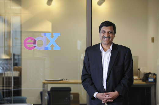 Anant Agarwal in the lobby of edX's headquarters in Cambridge, MA.