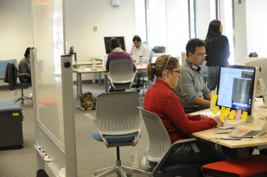 EdX Program Managers, engineers, content developers, and other staff share the office's open space.
