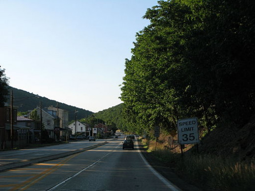 A view of a road going through Port Clinton, PA