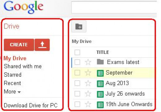 Google Drive showing some of the files and folders I have stored