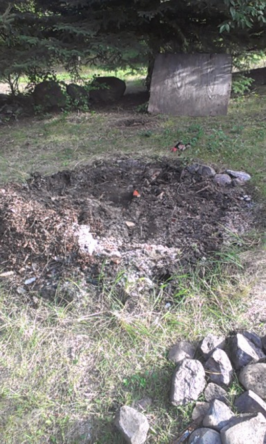 Turning an old fire pit into a Rock Garden.