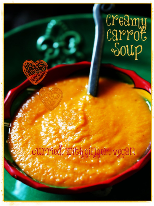 Deliciously creamy, yet dairy free, fat free, curried carrot soup