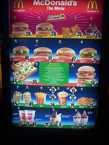 McDonald's Menu in India