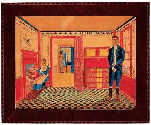 """Interior of John Leavitt's Tavern,"" watercolor, ink and pencil on paper, by artist Joseph Warren Leavitt (1804–1833). Shows inside of tavern of  artist's father, John Leavitt, in Chichester, New Hampshire."
