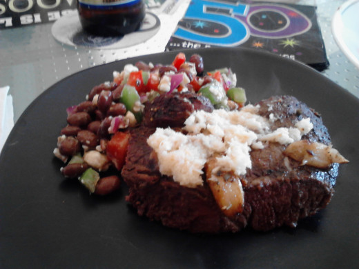 Bison steak, horseradish, mushrooms, onions and red hot sauce