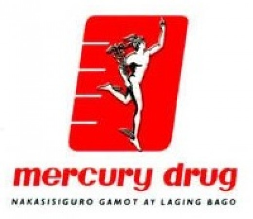 The brand logo of Mercury Drug Corporation, the leading drugstore selling branded and generic drugs in the Philippines