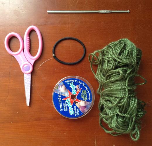 Materials to crochet a scrunchie hair elastic