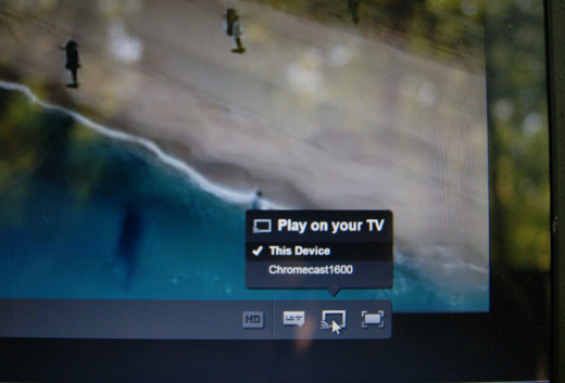 Netflix on laptop screen with option to send to Chromecast
