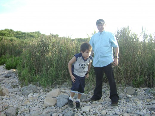 Ed (Pre-Emily) with son Matty at Montauk point