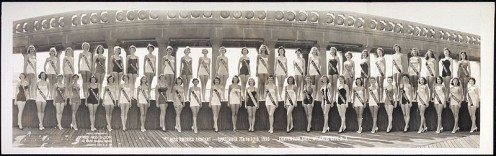 Contestants line up in swimsuits at the Miss America pageant, September 1953, Convention Hall, Atlantic City, N.J.