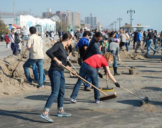 Volunteers Sweeping after Hurricane Sandy in 2012