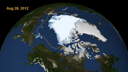 NASA satellite photo of Arctic ice taken on Aug. 26, 2012. Yellow border shows where ice is in 2013.