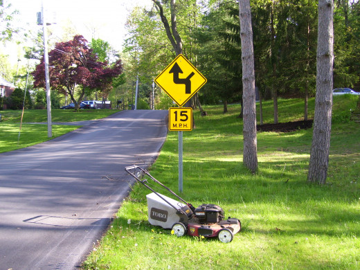 Maybe Jim should be downgraded to the push mower until he brushes up on his driving skills.