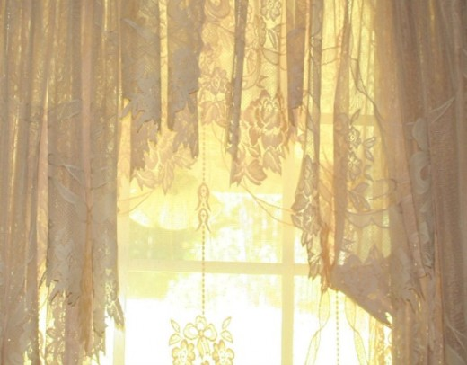 Sunlight through vintage reproduction lace curtains.