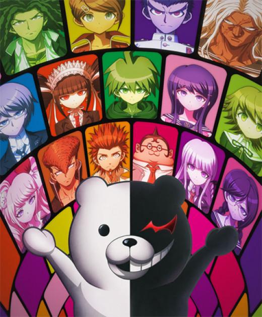 The fifteen imprisoned teens, and the villain, Monokuma the bear