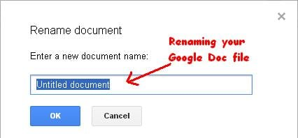 Renaming Google Doc file