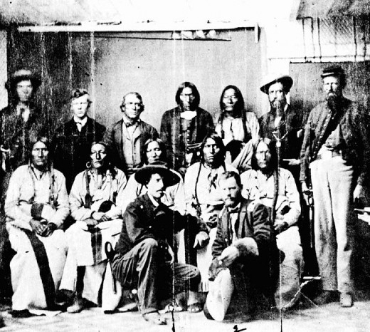 Camp Weld Conference.Shows Cheyenne chief Black Kettle and others assembled.