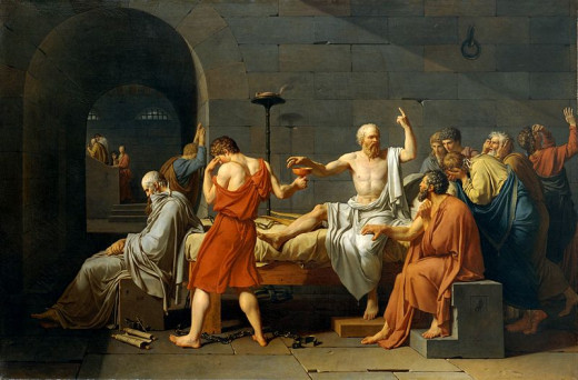 The Death of Socrates, by Jacque-Luis David (1787). The figure of Socrates drinking the hemlock was often idealized by the artists.
